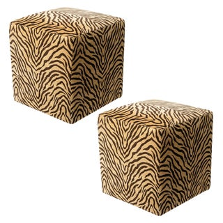 1970s Mid-Century Modern Cube Ottomans With Zebra Print Fabric - a Pair