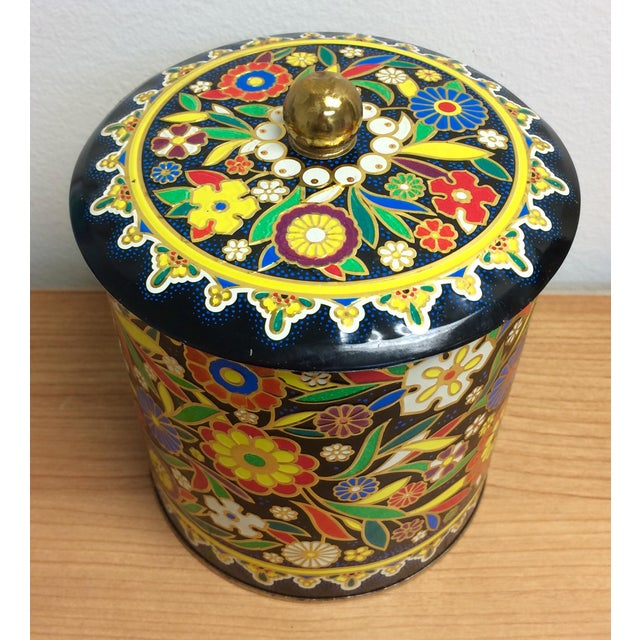 Boho English Colorful Tin Container - Image 4 of 6