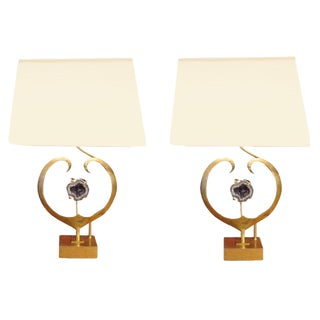 Willy Daro Rare Pair of Table Lamps in Brass and Amethyst Quartz Belgium Circa 1970 For Sale