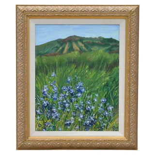 Blue Flowers Landscape Painting Signed For Sale