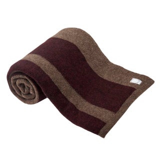 Lodge Wool-Yak Throw in Tobacco/Brick Stripe For Sale