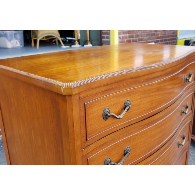 Vintage 1950s Satinwood Mahogany Bedroom 6 Graduated Chest of Drawers For Sale - Image 4 of 12