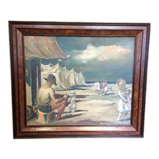 """Painting Oil on Canvas """"Circus Troupe at Beach"""" by Juan Antonio Morales For Sale"""