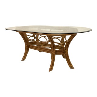 Rattan Bentwood Pedestal Oval Dining Table For Sale