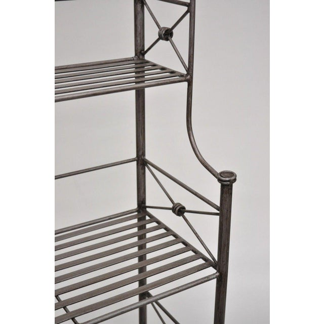 Pier 1 Medici Collection Pewter Iron Bakers Rack Shelf / Bathroom Stand Etagere For Sale In Philadelphia - Image 6 of 11