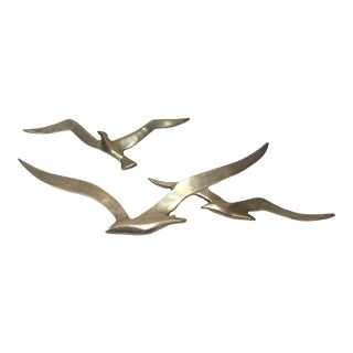 Solid Brass Seagull Wall Sculptures - A Pair