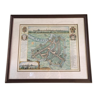 Framed Map of Belgium City For Sale