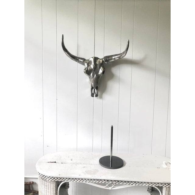 Chrome Contemporary Chrome Steerhorn Wall Sculpture For Sale - Image 8 of 13