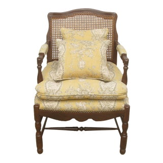 Vintage French Caned Bergere Chair w/ Two Pillows