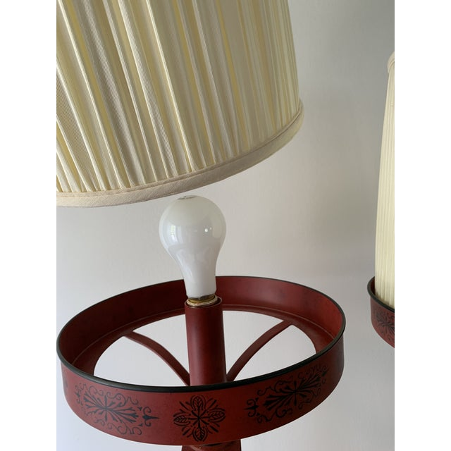 Chinese Painted Red Metal Table Lamps - a Pair For Sale - Image 9 of 13