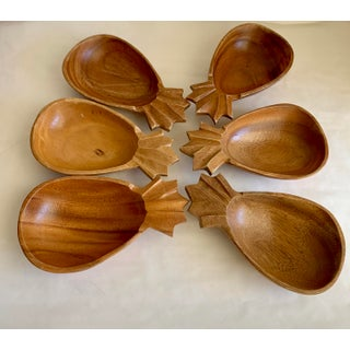 Vintage Hawaiian Wood Pineapple Bowls - Set of Six Preview