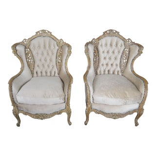 1930s Vintage French Louis XV Style Cream Velvet Upholstered Bergeres- a Pair For Sale