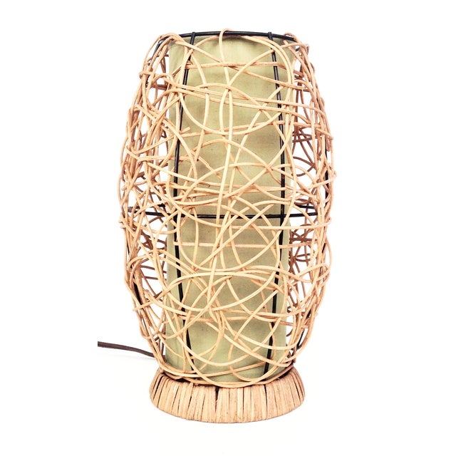Midcentury Rattan Beehive Table Lamp - Image 1 of 5