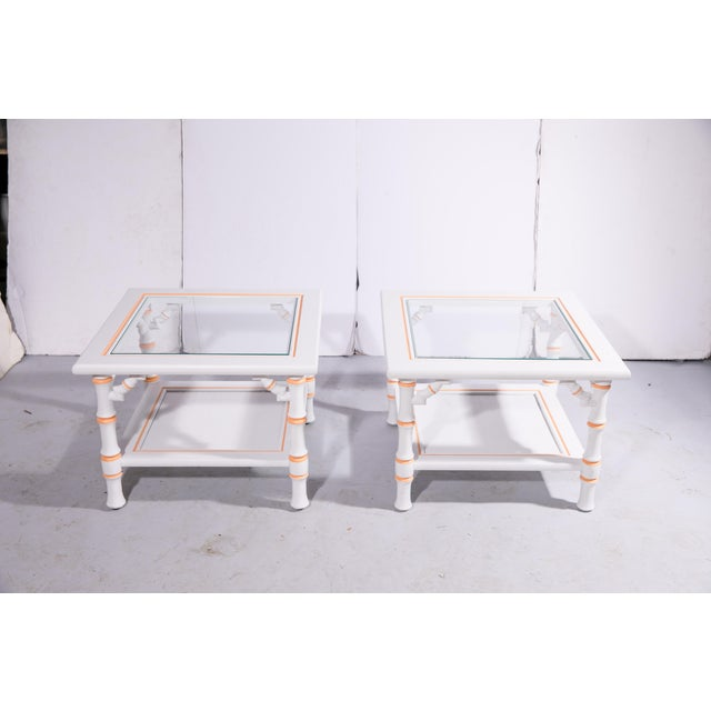 White 1960s Hollywood Regency Faux Bamboo Side Tables - a Pair For Sale - Image 8 of 8