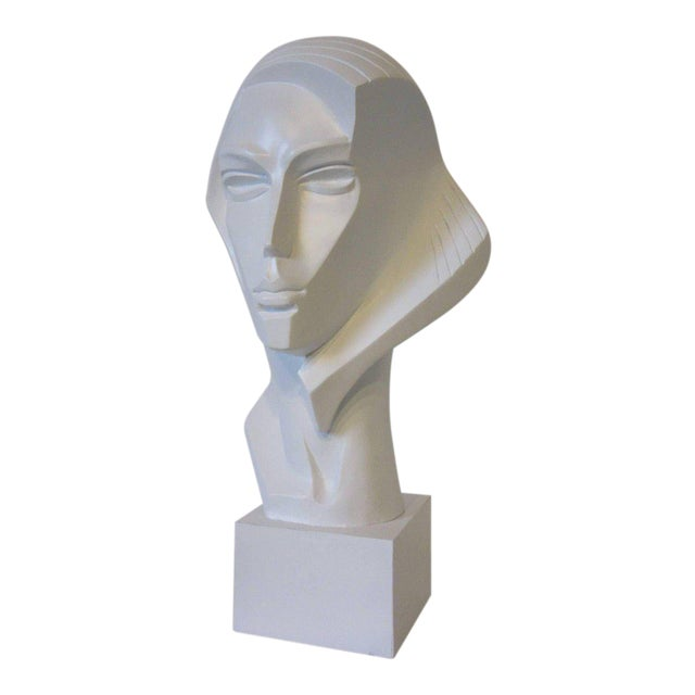 1980s Large Female Head Sculpture by Austin For Sale