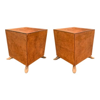Pair of Leather Tables With Shoe Form Feet For Sale