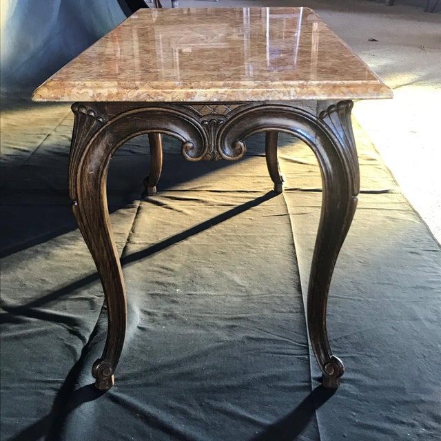 Louis XV Style Carved French Coffee Table With Marble Top For Sale In Portland, ME - Image 6 of 9