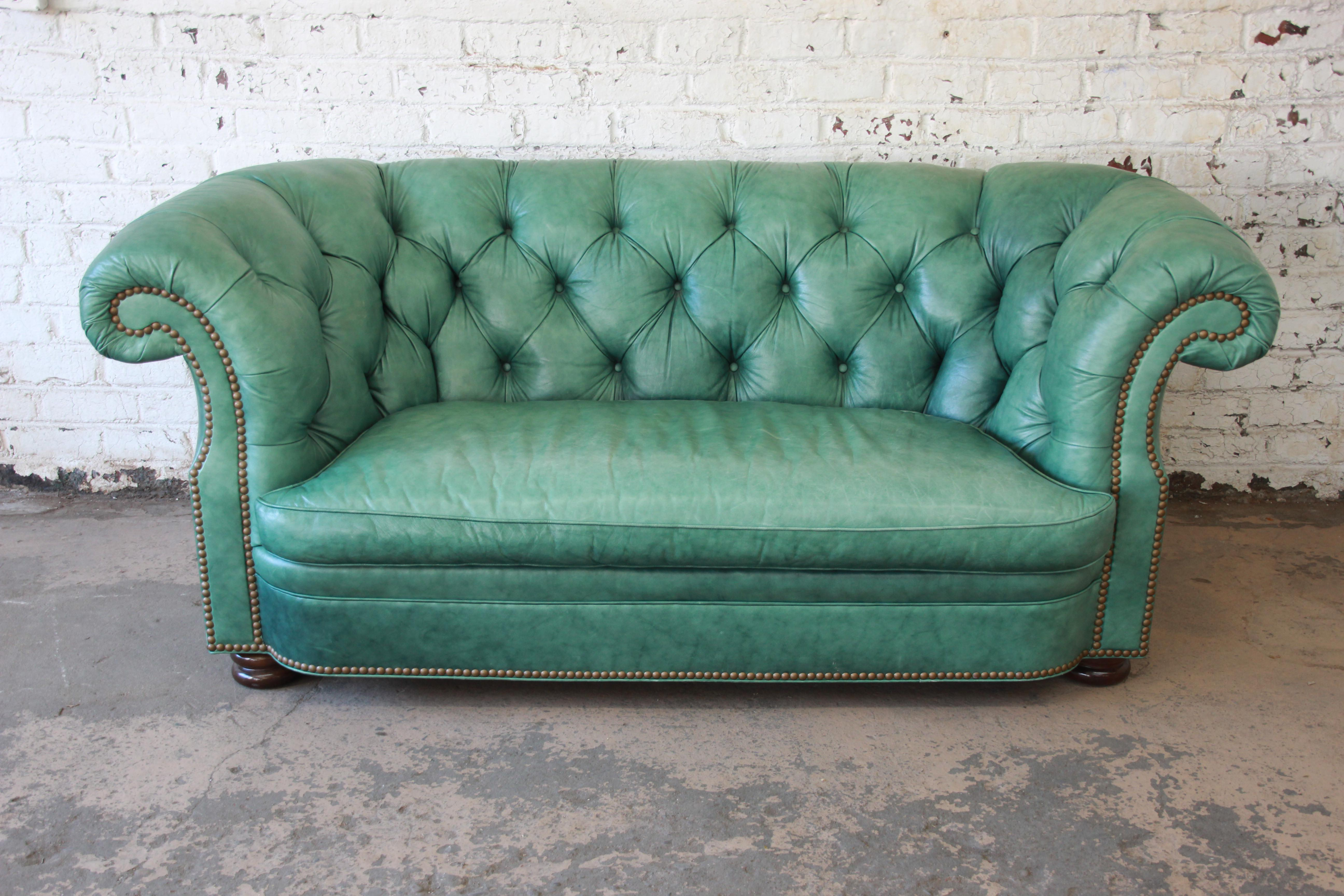 Offering An Outstanding Vintage Tufted Leather Chesterfield Style Sofa By  Hancock U0026 Moore. The Sofa