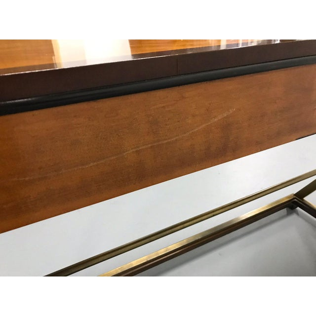 Brass Vintage Hickory-White Burl and Brass Console For Sale - Image 7 of 12