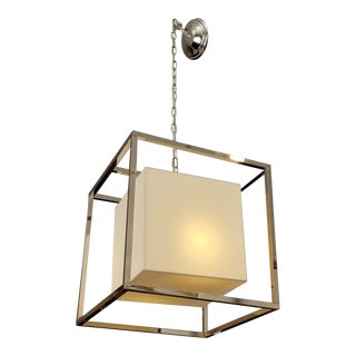 Williams Sonoma Polished Nickel Finish Square Framed Lantern