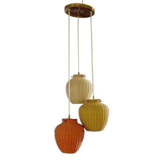 Mid-Century Modern 3 Basket Weave Rattan Ceiling Chandelier Asian Style 1960s