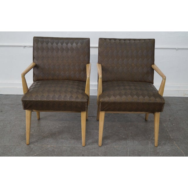 Mid-Century Modern Pair of Russel Wright Design Lounge Arm Chairs (B) AGE/COUNTRY OF ORIGIN: Approx 60 years, America...