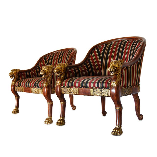 Hollywood Regency Gilded Lion's Head Chairs - Pair For Sale