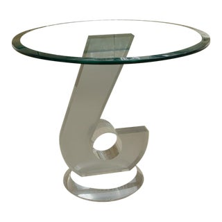 Unusual Mid-Century Lucite and Glass Occasional Table For Sale