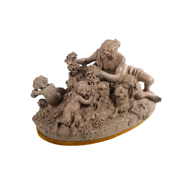 Bacchus & Satyrs eating Grapes and drinking Wine - Gorgeous 19th century Terracotta sculpture by French artist Clodion-Signed For Sale