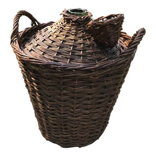 1960s French Carboy Demijohn Wine Bottle in Wicker Basket For Sale