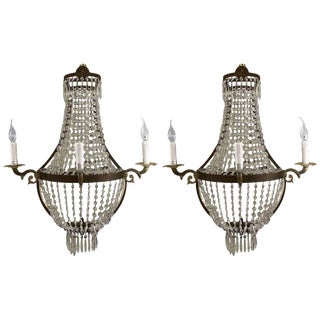 Timothy Oulton Empire Niermann Weeks Style Three-Light Sconces - a Pair