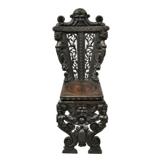 19th Century Italian Renaissance Figural Carved Walnut Sgabello Hall Side Chair For Sale