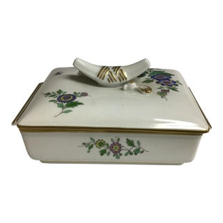 Vintage Meissen Porcelain Trinket Box With Flowers and a Bird For Sale