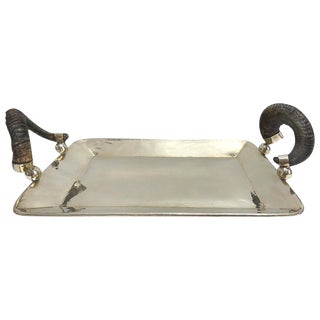 Silver Serving Tray With Rams Horn Handles For Sale