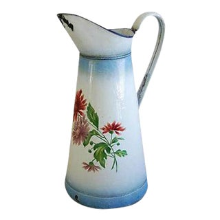 Large 1920s Vintage French Hand-Painted Enameled Pitcher For Sale