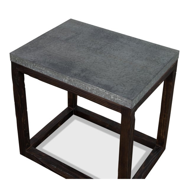 "Mediterranean Rectangular ""Hot Chocolate"" Elm & Zinc Lamp Table For Sale - Image 3 of 8"