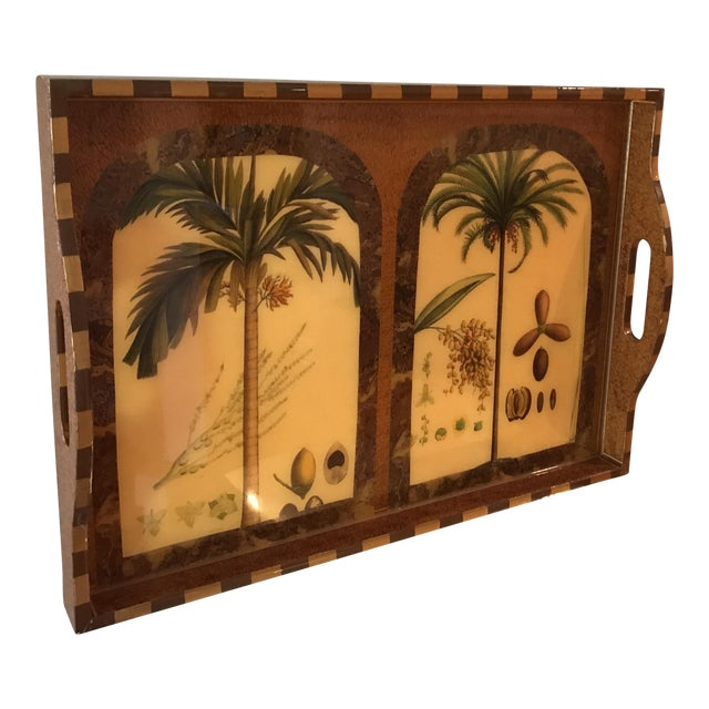 "Exquisite ""Palm Ii"" Signed Lacquer Palm Tray For Sale"