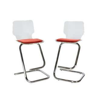 1970s Modern Lucite Bar Stools - a Pair For Sale