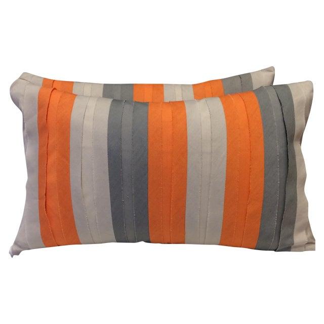 Bolsters in Orange & Grey - A Pair - Image 1 of 3
