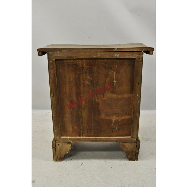 Brown Antique Italian Continental 3 Drawer Inlaid Walnut Commode Chest Nightstand For Sale - Image 8 of 12
