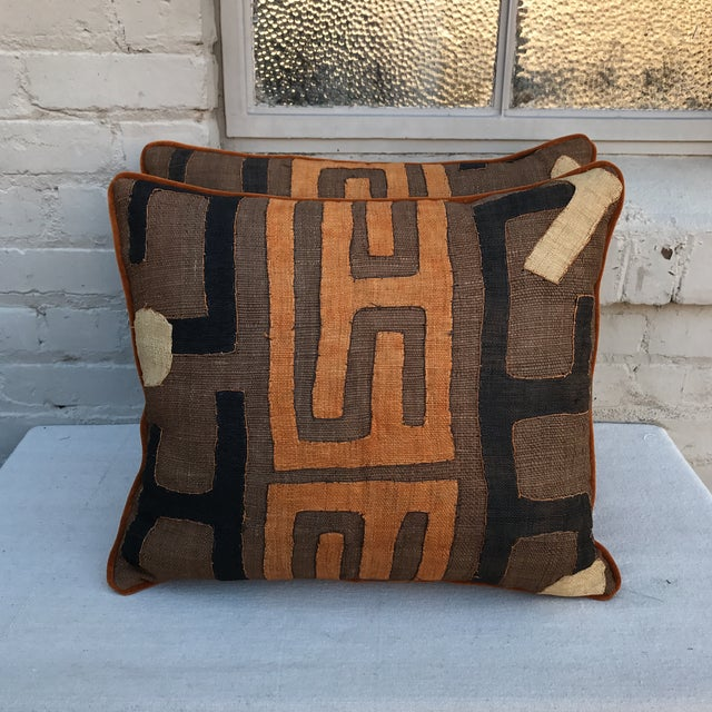 African Kuba Cloth Pillows - A Pair - Image 2 of 5