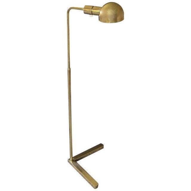 Casella Brass V Base Floor Lamp For Sale - Image 10 of 10