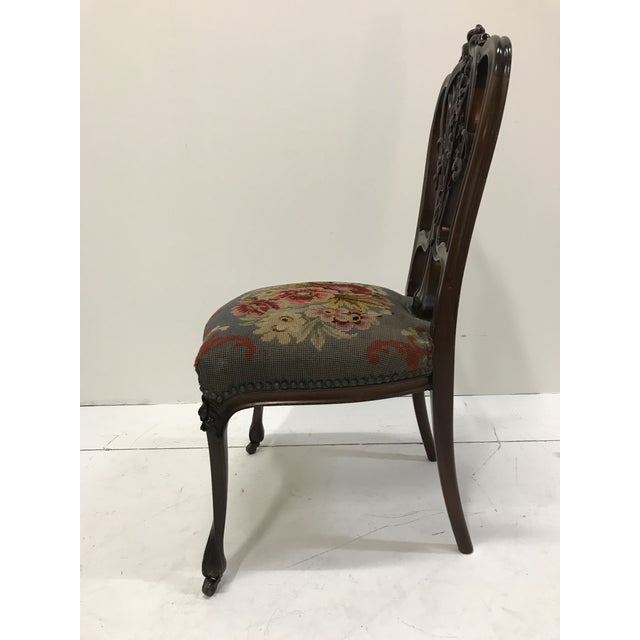 19th Century Art Nouveau Mahogany Side Desk Vanity Chair Attributed to Louis Marjorelle For Sale - Image 6 of 13