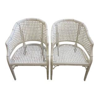 Palm Beach White Faux Bamboo Barrel Chairs - a Pair