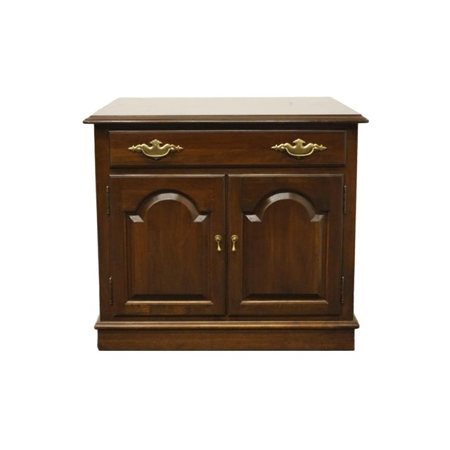 Ethan Allen Georgian Court Solid Cherry Storage Accent Table For Sale - Image 12 of 12