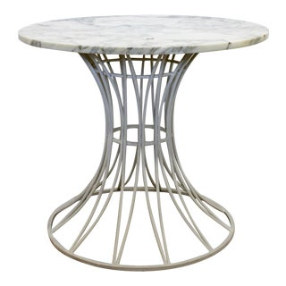Mid Century Modern Woodard White Patio Table W Marble Top Round 1960s For Sale