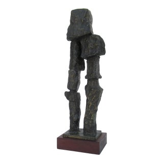 C.1940-50s - Monumental & Rare, Signed Carl Lewis Pappe Cubist Abstract Bronze Sculpture on Mahogany Base For Sale