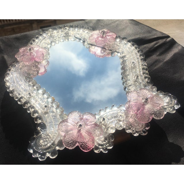 Italian Italian Venetian Murano Glass Wall Mirror With Pink Rosettes, 1950s For Sale - Image 3 of 11