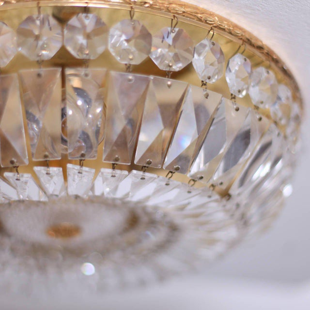 Palwa One of Two Large Crystal Glass and Brass Flush Mounts by Palwa For Sale - Image 4 of 7