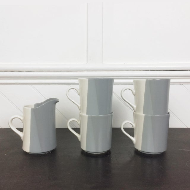 Minimalism Modern Gray and White Mugs and Pitcher Set With Asymmetrical Line Pattern - 5 Piece Set For Sale - Image 3 of 13